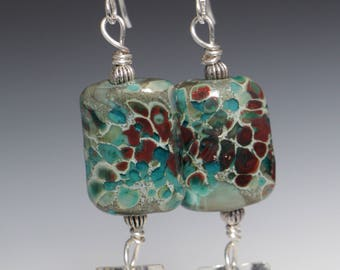Turquoise Earth tone Brown Beaded lampwork Glass Sterling Silver Earrings