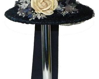 Vintage 1950's Navy Blue Straw Pill Box Hat
