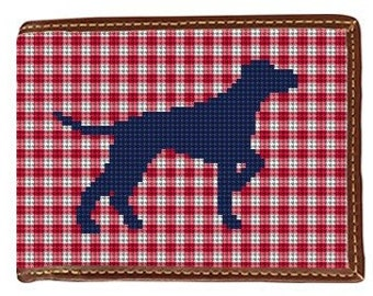Needlepoint Wallet Preppy Pointing Dog