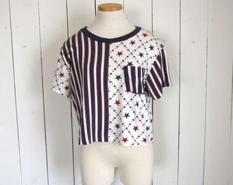 American Flag Crop Top - Early 90s Red White Blue Color Block Tshirt - Vintage 4th of July Slouchy Tee - Backroad Blues - Large