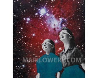 Retro Space Art Print, 8.5 x 11 Inch Print, Girls in Sunglasses Purple and Blue Mixed Media Collage Print, Surreal Art
