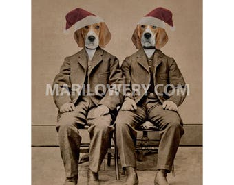 Christmas Wall Decor, Beagle Art Print, Dogs in Suits and Santa Hats, Animals in Clothes 8.5 x 11 Inch Dog Art Print, Twin Brothers Art