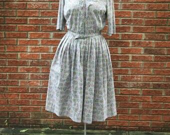 Vintage 1950's Grey Novelty Print Shirt Dress Pleated full Skirt