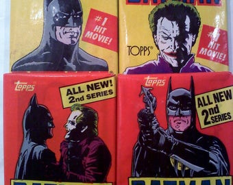 4 Packs of Topps Batman Trading Cards, Series 1 and 2