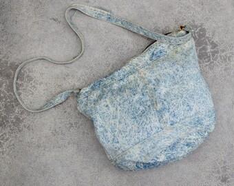 1980s Denim Shoulder Bag Vintage Acid Washed Denim Cross Body Hobo Tote 7VV