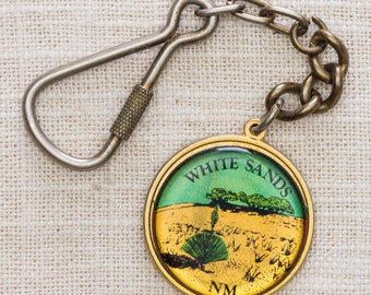 White Sands New Mexico Vintage Keychain with Clasp Gold Metal Desert NM USA Key FOB Brass Key Chain 7KC