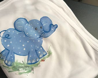 Baby Blanket with blue elephant size  30x40 inches soft poly cotten.
