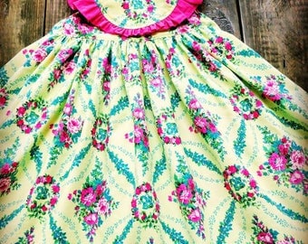 Girls Floral Dress, Boutique Dress, Yellow Floral Print Dress, Children's Boutique Dress