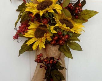 Fall Wreath , Front Door Wreath , Rustic Wreath , Wreath , Fall Wreath ,  Door Wreath , Autumn Wreath , Sunflower Wreath Swag