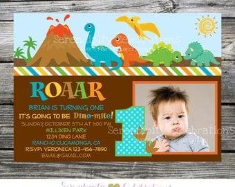 Dinosaur Invitation, Dino Photo Birthday Invite, Dinosaur Party Invite, Baby Shower Invite, Printed Invitations, Boy Dinosaur Invite, Dinos