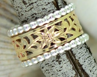 Gold Wildflower Thumb Ring with Bead Rings -  Sized - Stack of Three Rings - Thumb - Finger - Gold Filled