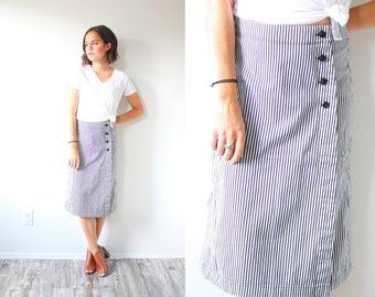 Vintage 90's blue striped skirt // blue striped button down skirt // retro skirt // 60's skirt // 1950's skirt / Small Medium nautical skirt