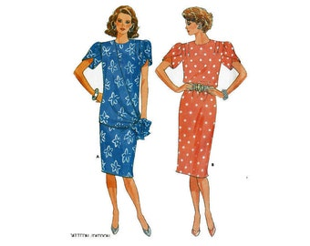 Straight dress with overlay swag and Tulip Sleeves Uncut 1980s Fast & Easy Sewing Pattern Size 12 Bust 34 Butterick 4630