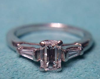 Amazing Vintage/Antique Tiffany Style 1.15ct Diamond Engagement Ring Emerald Cut & Baguettes in Platinum Size 8