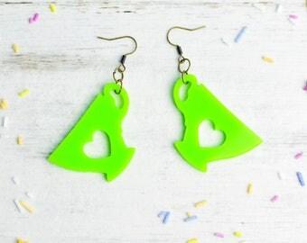 Green Tea Lover Earrings | Nickel Free Dangle Earrings | Laser Cut Statement Jewellery | Neon Green Tea Lover Gift