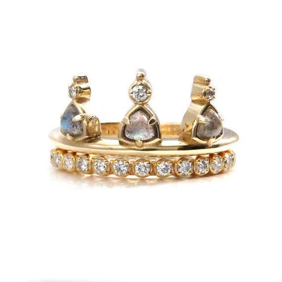 Labradorite Crown Bohemian Engagement Ring Set with Pave Diamond Band