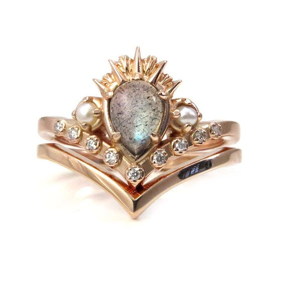 Labradorite Sea Witch Engagement Ring Set - Rose Gold Pointed Stacking Ring Set with Tiny Pearls