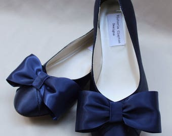 Navy WIDE Wedding Flat Size 11 Wide SALE Ready to ship  - Wide Width Flats- Bow Flat