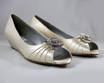 Ready to ship size 11 Wedding Wedge SALE - Bridal low wedge Size 11 --Ivory low wedge shoes