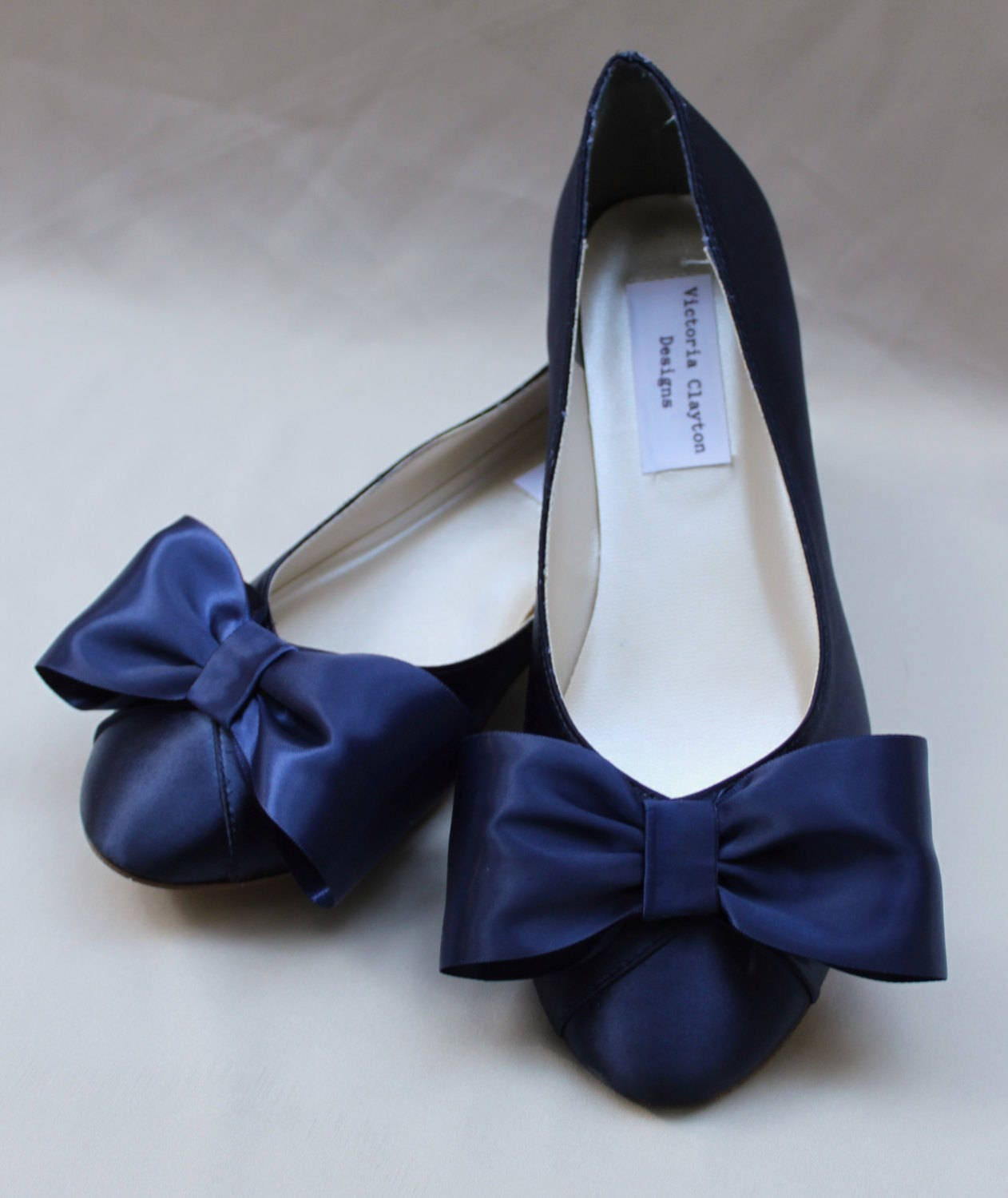 wedding shoes with bows navy wide wedding flat size 11 wide ready to ship 1139