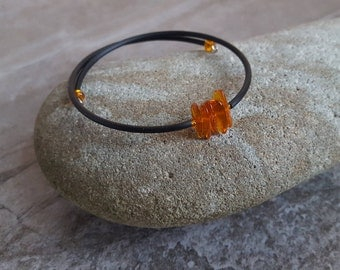 Amber Bracelet - Natural Baltic Amber Chip Beads Cuff Bracelet - One Size Fits All
