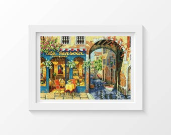 Cross Stitch Kit Charming Waterway 11 x 16 inches, Embroidery Kit, Dimensions Gold Collection