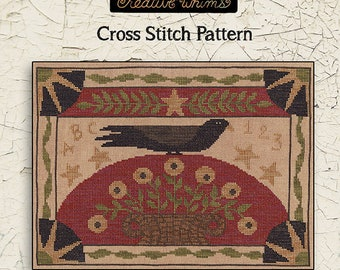TERESA KOGUT Crow & Basket counted cross stitch patterns at thecottageneedle.com folk art heavenly Easter Spring Mother's Day