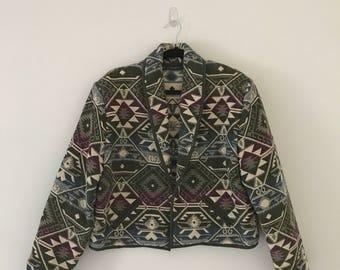 Vintage Cropped Southwestern Blazer