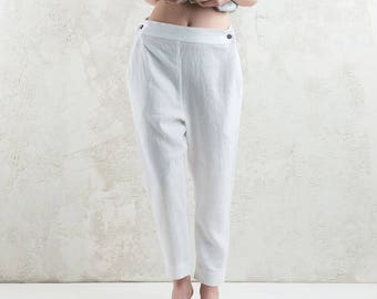 White linen women's pants, White trousers for woman, LHI linen women's clothing, Linen pants for women, Linen trousers with pockets