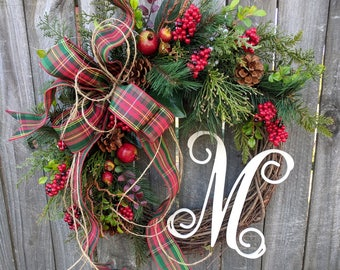 Christmas Country Wreath with Plaid, Christmas Wreath with Twine, Tartan Wreath, Christmas Fruit Wreath, Housewarming Gift, Wreath Initial