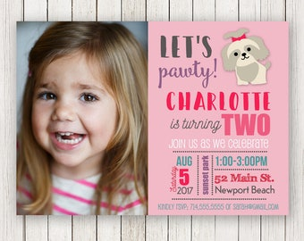 Puppy Party Birthday Invite   Dog Party invitation   First Second Third   Picture   Photo   puppies Party   Invitations   Invites