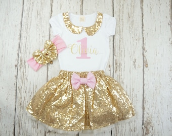 First girl birthday outfit, gold pink first birthday outfit, second birthday outfit girl, 1st birthday, gold birthday, birthday girl outfit