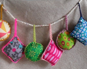 Crochet Fabric Ornaments, Colorful Hanging Mobile Ornaments