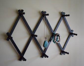Black Vintage Wood Accordion Peg Wall Hanging Rack ~ Boho, Farmhouse, Simple