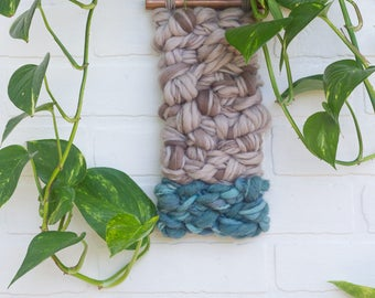 Woven Wall Hanging   Modern Weaving on Copper Pipe with Hand Dyed Yarns