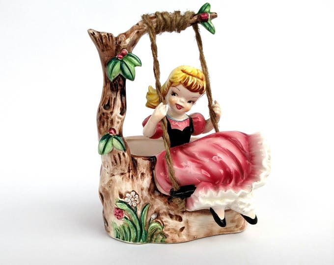 Vintage 1950's Ceramic Container with Figurine of Girl on Swing under Tree
