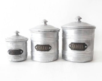 3 Mid Century Aluminium Canisters with Lid with French Brass Tags