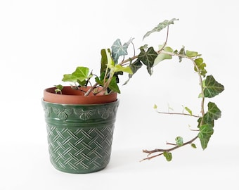 Vintage Green German Pottery Plant Pot Planter with Flowers and Woven Pattern