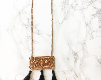 Vintage Bauble and Tassel Necklace, Tassel Necklace, Black Tassel Necklace, Steampunk Jewelry, Gussied, Vintage Necklace, Vintage Jewelry