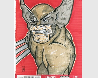 Wolverine  / Logan / Sketch Cover / Variant Cover / Hand Painted Comic Book / Hand Drawn / Original Art / Pen and Ink / Markers