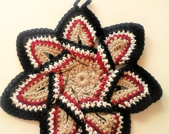 Star Flower Potholder - Tan, Black, Burgundy, and White - 100% Cotton, Ecofriendly, Re-usable, Reversible