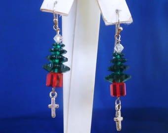 Swarovski Crystal Tree, Religious Earrings, Cross Earrings, Christmas Tree Earrings, Swarovski Crystal Earrings, Stocking Stuffers, Handmade