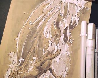 "ORIGINAL Art ""Underwater"" - Dragon Fantasy Copic Marker Sketch Inktober 2017"