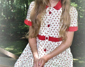 Girls Dress, cherry print dress, all sizes, custom made dress, modest dress, red and yellow dress, handmade in USA AC Ashworth & Company