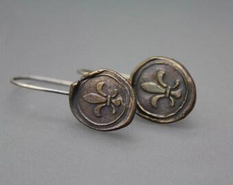 New Orleans Jewelry, Wax Seal Earrings, Louisiana Jewelry, Bronze Jewelry, Letter Seal Earrings, Bronze Earrings, Fleur De Lis, Nola