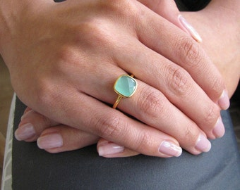 Aqua Chalcedony Square Gold Ring - Gold Ring - Stacking Ring