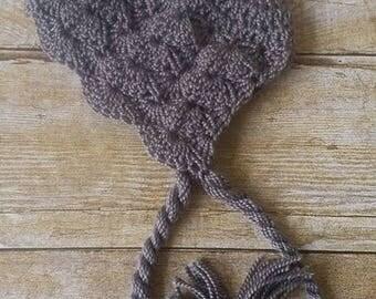 Soft Wool Blend 0-3 Month Crochet Baby Bonnet - Gray Shell Stitch - Photo Prop