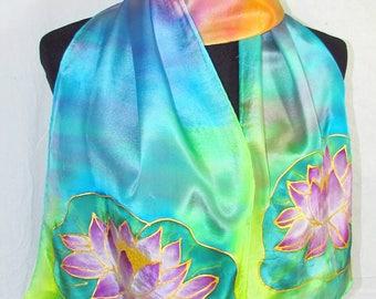 rainbow lotus silk scarf,  hand painted silk scarf, spiritual, yoga scarf, reiki, gifts for her, lotus scarf, rainbow scarf, metaphysical