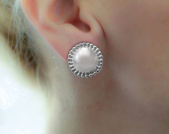 Large Silver Stud earring, Round Stud Earring, Silver post Earring, geometric earring, gift for woman, Big studs, Statement silver jewellery
