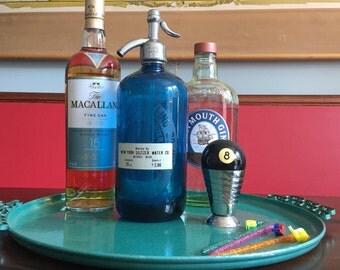 Vintage Wonder Water Bottling Company New York Seltzer Water Blue Glass Seltzer Bottle Vintage Glam Retro Bar Seltzer Bottle